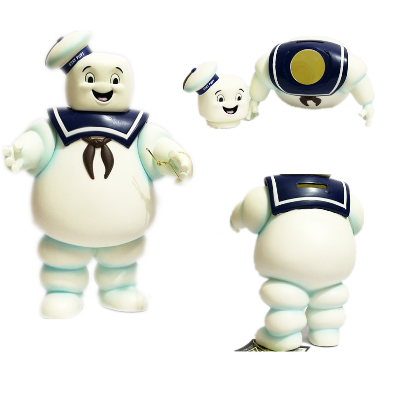 28cm Vintage Ghostbusters 3 Stay Puft Marshmallow Man Bank Sailor Action Figure Coin Piggy Bank Money Saving Box Toy Doll anime big hero 6 baymax pvc coin money bank piggy action figure toy
