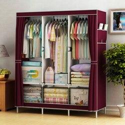 Простой Тканевый шкаф из стальных трубок в сборе, шкаф для спальни, подвесной шкаф для хранения, шкаф для хранения в общежитии