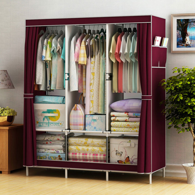 Simple Cloth Wardrobe Fabric Steel Tube Assembly Closet Bedroom Clothes Hanging Storage Wardrobe Dormitory Storage Cabinet