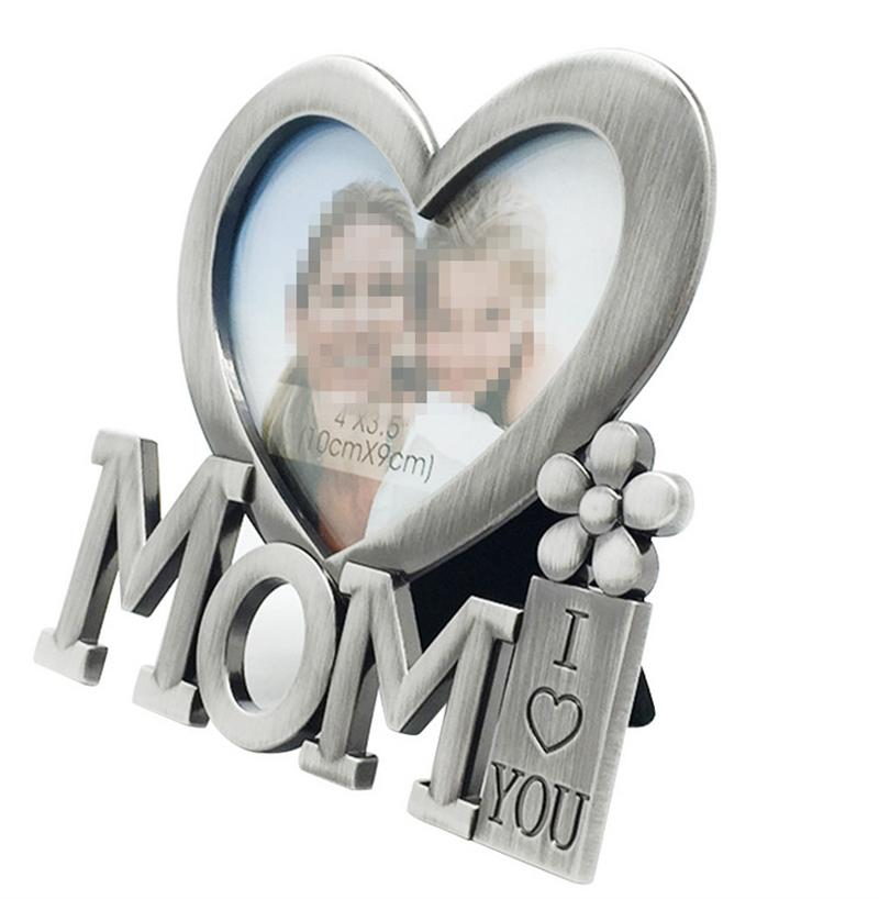 I Love You Mom Photo Prame Mother\'s Day Heart Shape Metal Picture ...