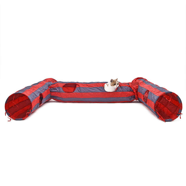 Pet Tunnel Cat Play Tunnel  Red-Gray Foldable 2 Holes Cat Tunnel Play Crinkle Sound Bulk Cat ToysCoon cat Long Play Tunnel