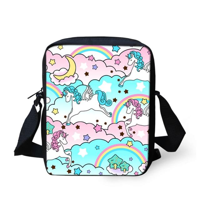 Whole Cute Unicorn Horse Print School Crossbody Bag Cartoon Messenger Bags For Junior High Ager