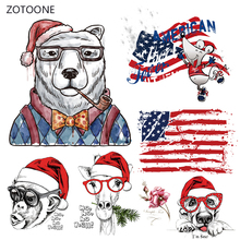 ZOTOONE Red Hat Bear Iron on Transfer Patches Stripes Clothing Diy Patch Heat for Clothes Decoration Stickers Kids G