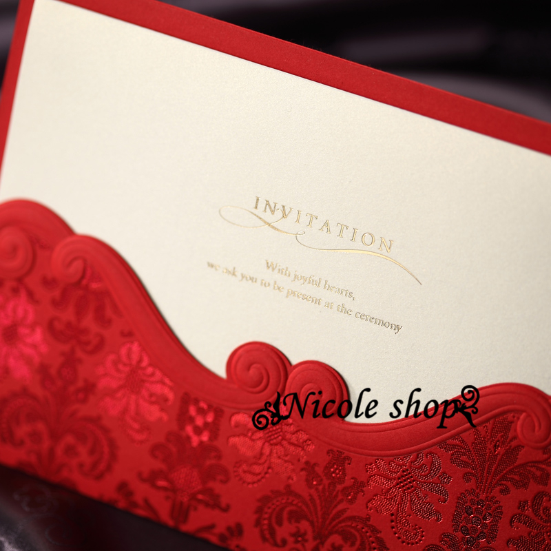 30psc Invitations Red Chinese Wedding Invitation Card Flower Birthday Party  Supplies Decoration Mariage Custom Free Printed