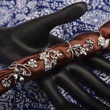 Vintage Three Dimensional Flower Leaves Rings Silver 4 pcs Combination Rings for Women(China)