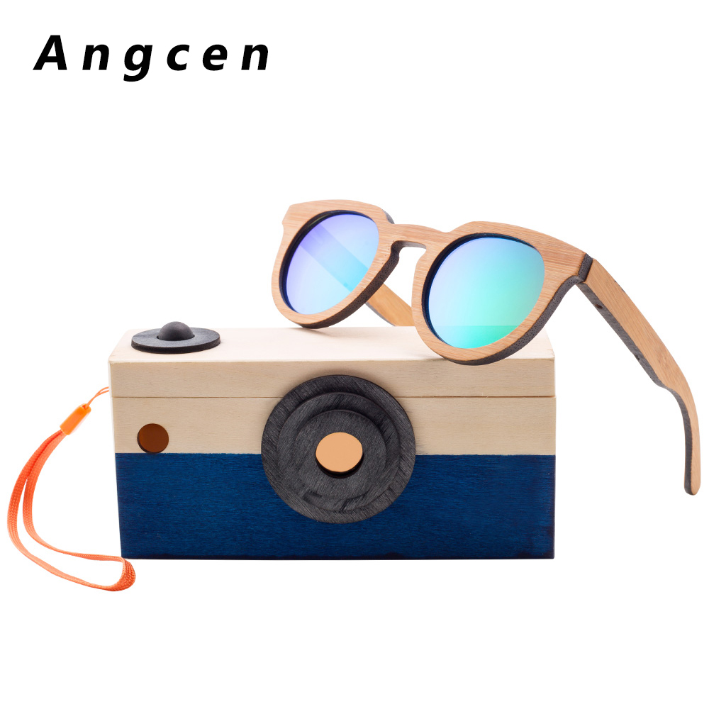 Angcen Children Sunglasses For Girls Polarized Brand Round Baby Boys Sun Glasses Bamboo Sunglasses 100% UV400 Kids Eyewear CH05