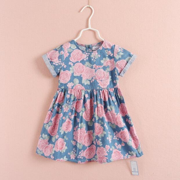 Девушки печать платья danim цветок печать с коротким рукавом платья для kid2-8 детские children'clothing meninas весна лето saia frozem