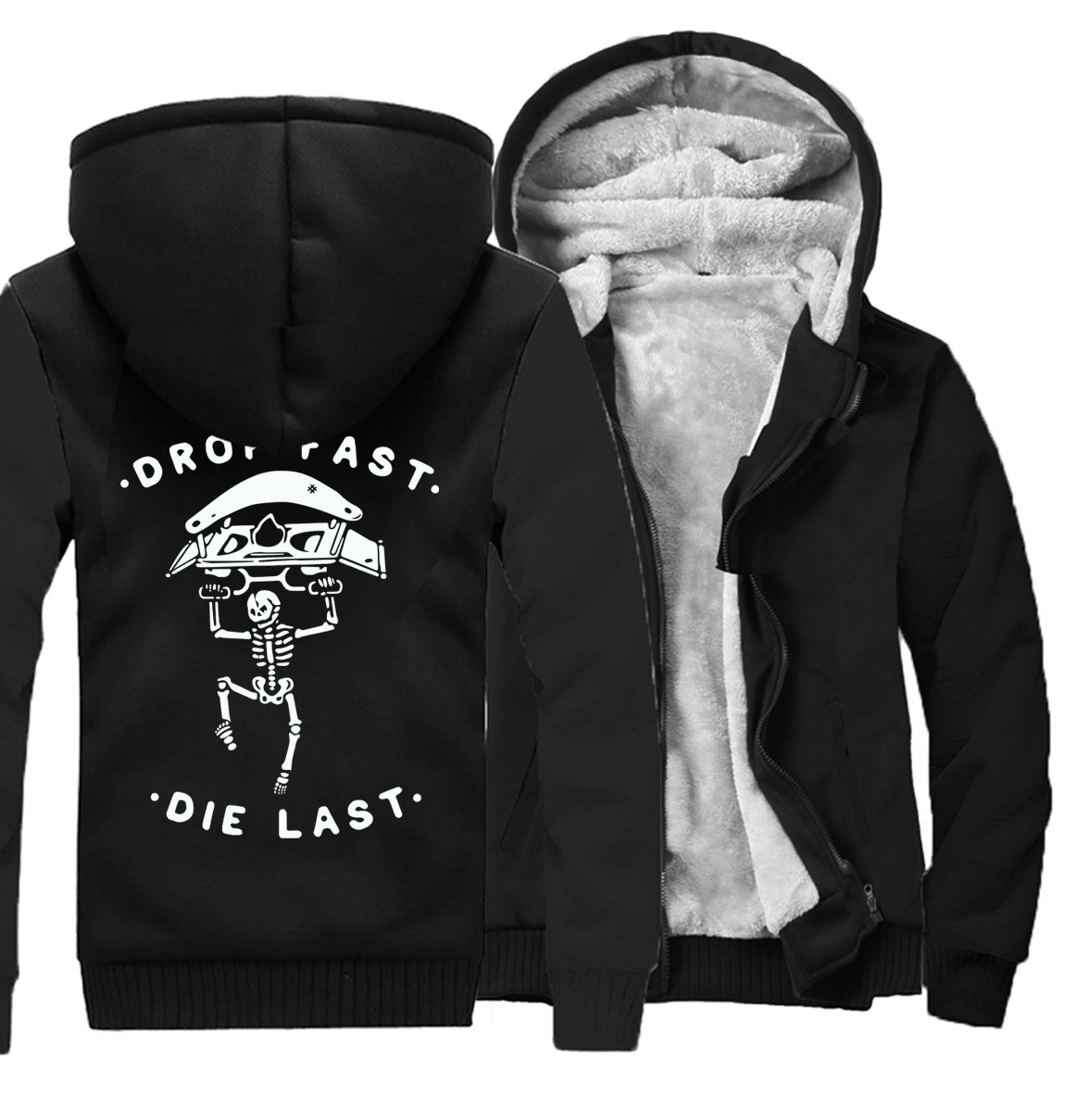 sweatshirt Streetwear Hip hop men Game jackets funny drop fast die last letter print full sleeve thick tracksuit 2019 winter