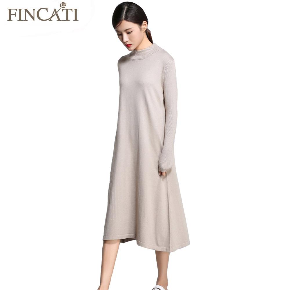 Women Sweater Dress 2018 Autumn Winter Cashmere Blending Half Turtleneck Casual Long Loose Soft Femme Dresses Vestidos