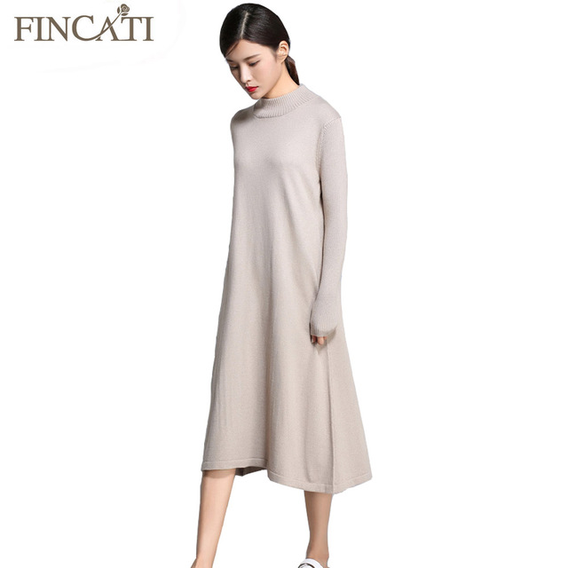 9c0112ab US $26.95 15% OFF|Women Sweater Dress 2018 Autumn Winter Cashmere Blending  Half Turtleneck Casual Long Loose Soft Femme Dresses Vestidos-in Pullovers  ...