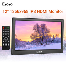 Eyoyo 12 inch HDMI TV Monitor Portable Home Office TV 1366x768 IPS LCD Screen Display VGA Input Remote Control PC Computer цена