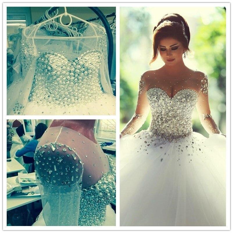Amazing New Wedding Dress Sheer Sleeves Crystal Beaded Princess Wedding Dresses Romantic Bride Dresses Vestido De Noiva