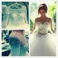 Novo e surpreendente Vestido de Noiva Sheer Mangas de Cristal Frisada Princesa Vestidos de Casamento Romântico Vestidos de Noiva 2016 Vestido De Noiva