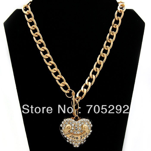 Heart Shape I Love You Pendants with Bold Chunky Chain Necklace Gold Tone 4d6cc7a58