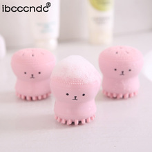 1 pc Cute Octopus Face Cleaner Hand Wash Exfoliating Pink Brush Cleaning Pad Facial Cleanser SPA Skin Tool