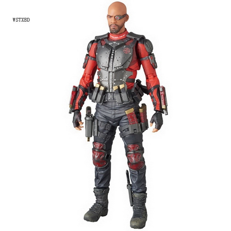 WSTXBD Original Med Toy MAFEX Deadshot  PVC Action Figure Brinquedos Model Kid Dolls Toys Figurals polar marine animal model toy penguin reindeer polar bear blue whale walrus sea l toy model sets pvc figure