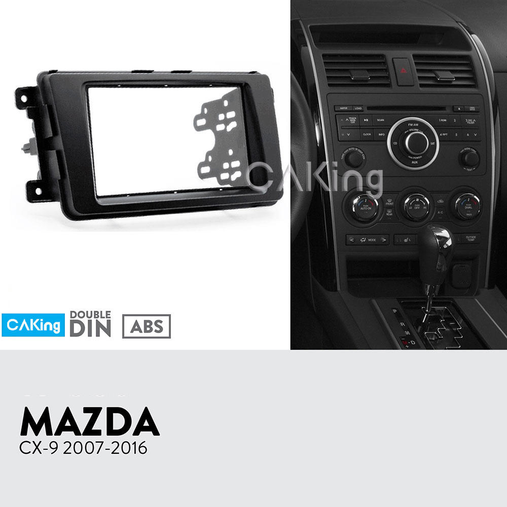 Double Din Car Fascia Radio Panel for 2007 2016 Mazda CX 9 CX9 Dash Fitting Kit