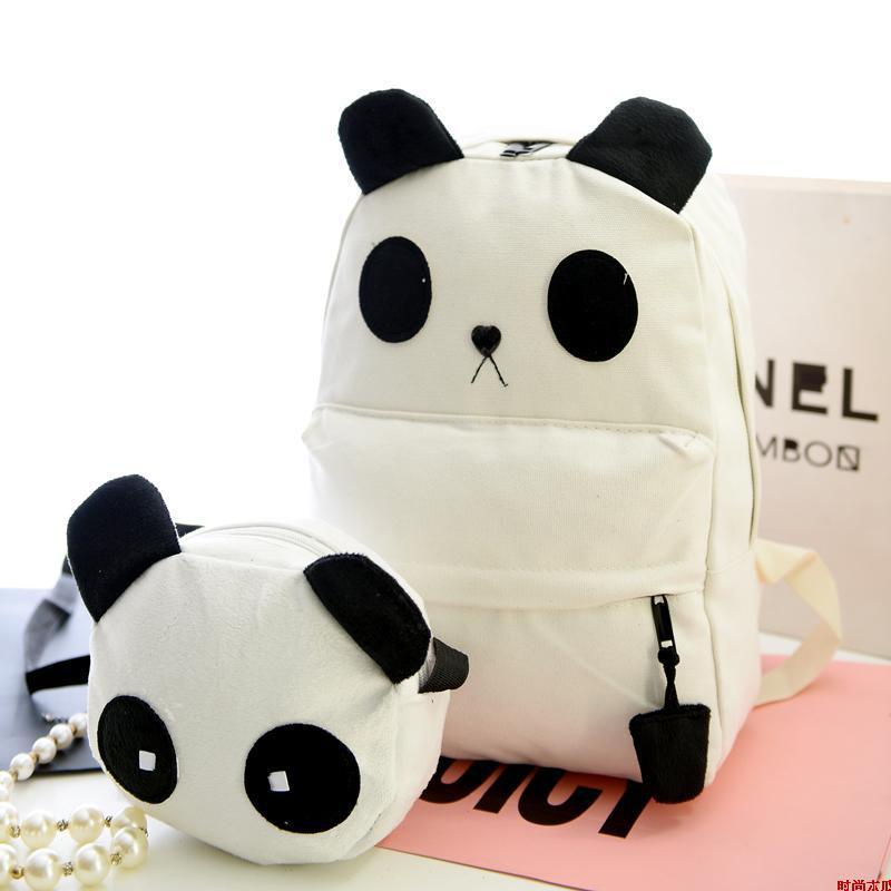 Мода Холст Рюкзак Для женщин симпатичный рюкзак девушки панда Форма школьная сумка большой Ёмкость путешествия рюкзак Портативный сумка