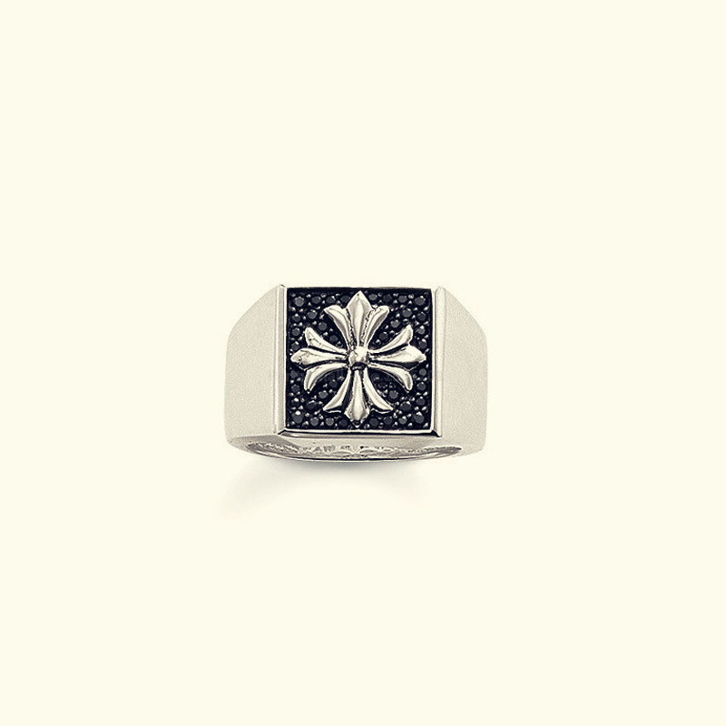RS1278 silver-plated Ring Square Maltese Cross Ring size 8 Wedding Jewelry With Black Cr ...