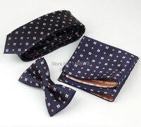 Floral Tie Set Cravatte Navy Gravata Sottile Jacquard Degli Uomini cravatte Arancione Florals Cravatte di Marca Con Piazze Tasca Floreale Cravatta Set