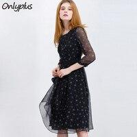 ONLY PLUS S XXL Long Chiffon Dress Black Star Print Midi Dress Casual Women Tunic Ruffles Holiday Party Dresses Vestido
