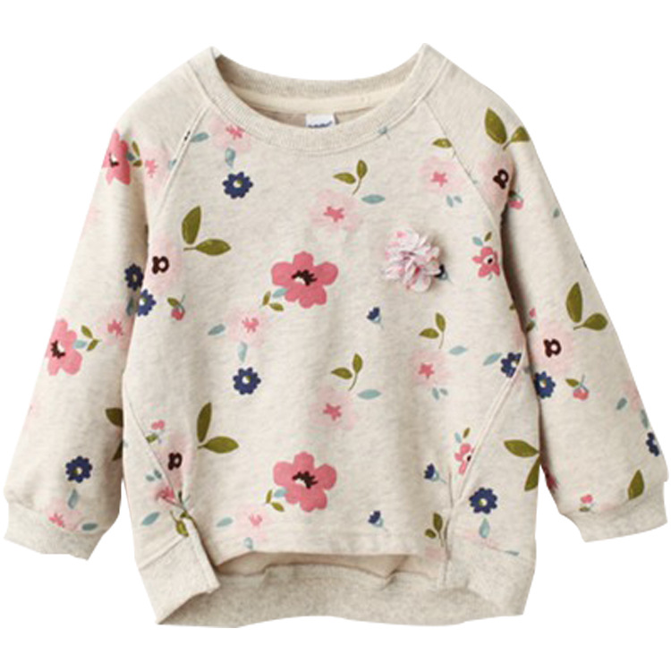 2018 New Baby Girl Casual With Pattern Long Sleeve Soft Newborn Children Suitable For 0-2 Years shirt flower round neck sweater geometric spliced print round neck long sleeve sweater