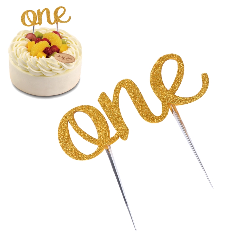 New Handmade 1st First Birthday Cake Topper One Double Sided Gold Glitter Decoration Oct23