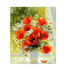 Digital Poppy Flower Painting by Numbers DIY Wall Oil Coloring Cuadros Decoracion Pictures Acrylic Canvas Art