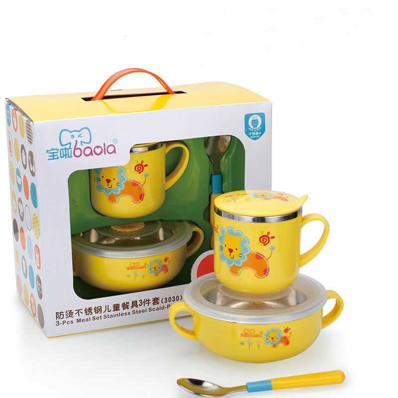 brand tableware for children stainless steel baby feeding kids plate dishes - Melamine Dishes