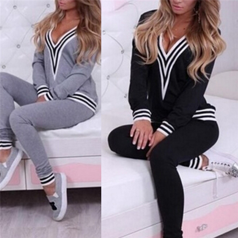 2 Piece Set 2018 Womens TrackSuit With Hood Long Sleeve Crop Top And Legging Pants Black