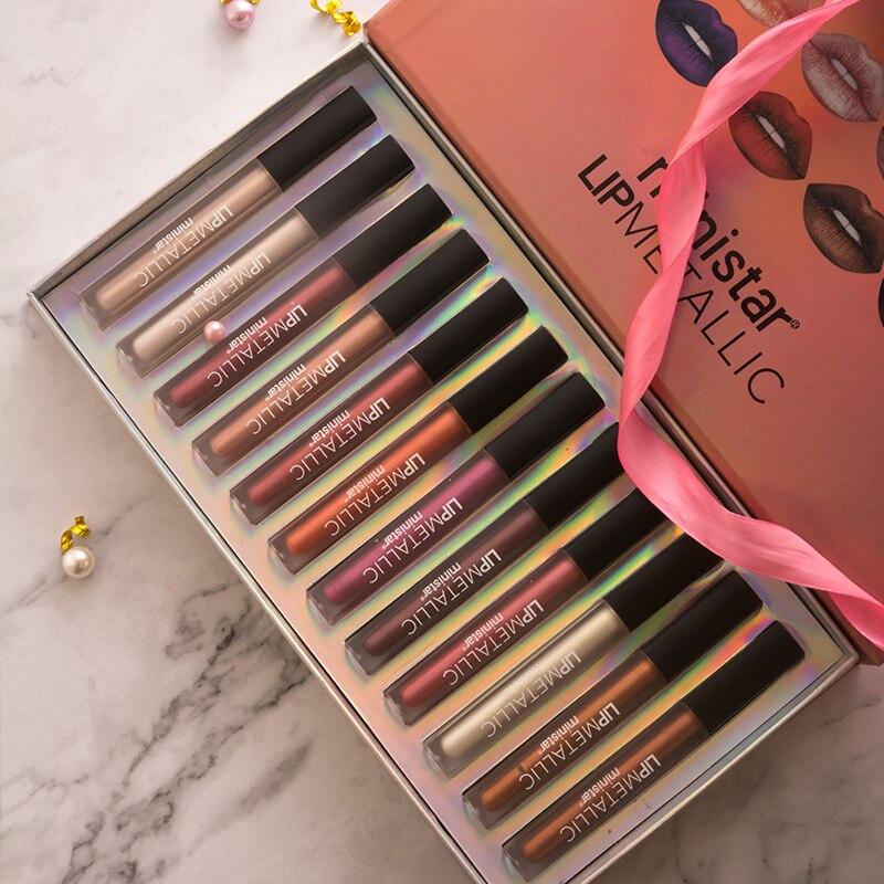 12 couleur coffret cadeau shimmer cosmétiques labiale rouge à lèvres liquide pintalabios kyliejenner maquiagem mat brillant à lèvres teinte glitter batom