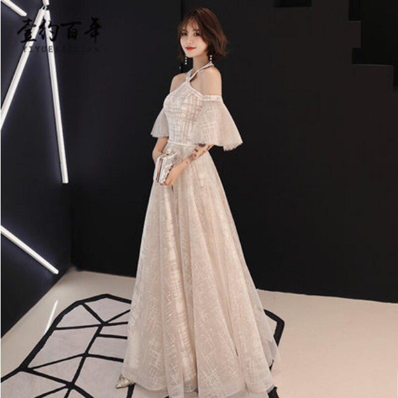 it's YiiYa   Prom     Dress   Halter Strapless Sequined Tunic   Dress   Women Party Night Short Sleeve Vestidos de Gala Plus Size 2019 E490