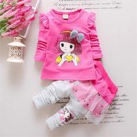 2017 Fashion Spring Autumn Baby Girls Sport Outfits Child Clothing Set Suit Set Children T-shirt +pants Clothes Sets Kids 2 Pcs