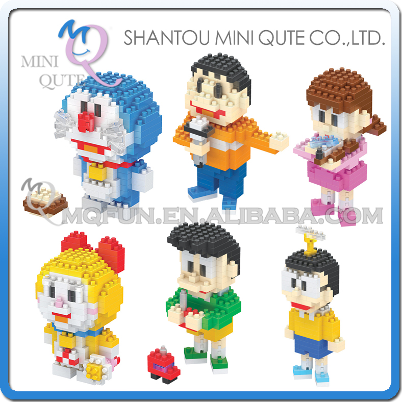 6pcs/lot Toys Hobbies Blocks Mini Blocks Kawaii Doraemon Anime Cartoon Micro Building Bricks Toys For Kids educational toys