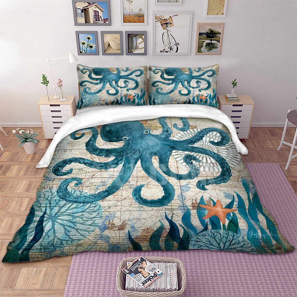 BEST.WENSD wholesale 3D Marine organism bedclothes 3pcs bed sets Duvet cover+pillow case Octopus Starfish Seaweed bedding setBEST.WENSD wholesale 3D Marine organism bedclothes 3pcs bed sets Duvet cover+pillow case Octopus Starfish Seaweed bedding set