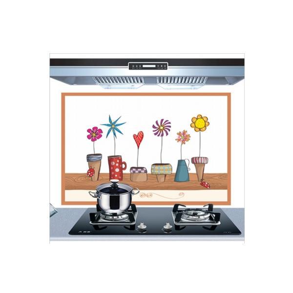 Самоклеющиеся обои для кухни из алюминиевой фольги, наклейки для кухонного шкафа, маслостойкие водонепроницаемые Мультяшные наклейки на стену - Цвет: B