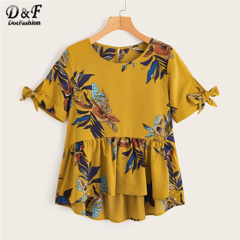 Dotfashion Ginger Plants Print Knot Cuff Ruffle Hem Blouse Women 2019 Summer Cute Short Sleeve Clothing Ladies Casual Peplum Top