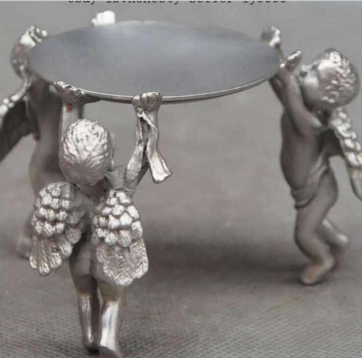 ZSR 812 + + + + + décoration Tibet cuivre argent Chinois argent amour dieu Cupidon ange garçon Chandeliers Menorah Bougie Plaque