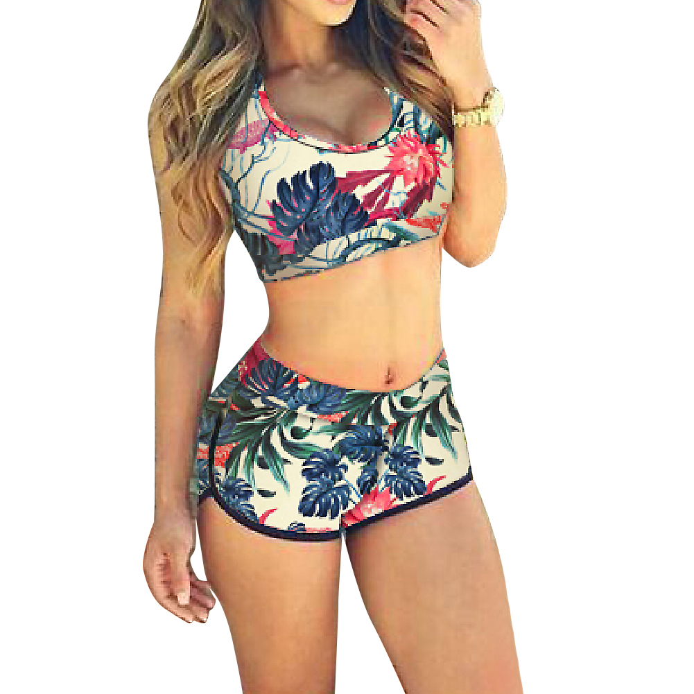 Bikini Swimwear Women Floral Printed Bikini Set Padded high waist Beachwear Bathing Suit
