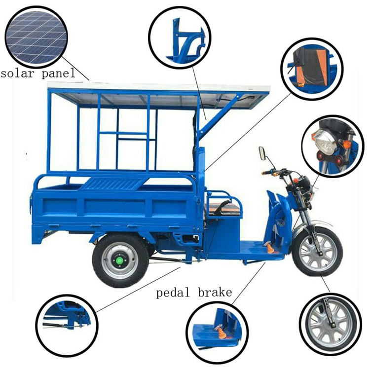 Hot Sale Tricycle For Cargo With Solar Panels Three Wheel Cargo Tricycle