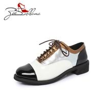 Zoe Saldana 2017 PU Lether Lace Up Striped Platform Metallic Fashion Vintage Brogue Flat Female Shoes