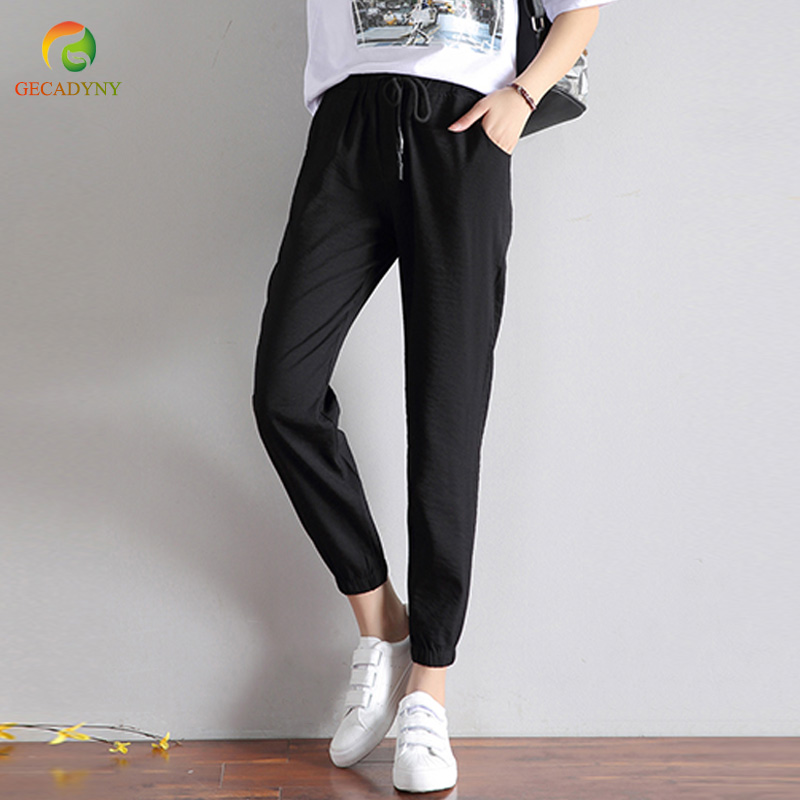 Ice Silk Cotton Linen   Pants     Capris   2019 Women Summer High Waist Loose Casual   Pants   Thin Comfortable Pleated Women Harem   Pants