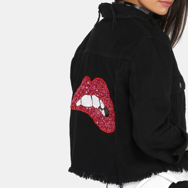 HDY Women Coats Autumn Black Turn Down Collar Red Lips Sequined Denim Jackets 2018 New Casual Slim Short Basic Jackets Coat 9