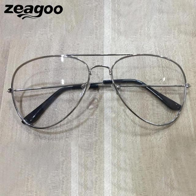 5036e3db3637 Zeagoo Vintage Glasses Frame Eye Unisex Lens Clear Chic Alloy 2018 Solid Glasses  Fashion Retro Big Oversize Metal Round Glasses