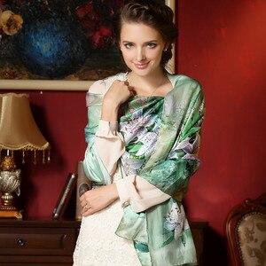 Image 2 - DANKEYISI 100% morwy długi szalik kobiety jedwabny szal luksusowy szalik markowy szal szale jedwabne długa z nadrukiem szale okrycie plażowe