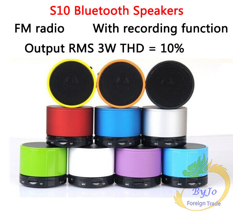 S10 Bluetooth Speakers Mini Wireless Portable Speakers HI-FI Music Player Audio for phone Mp3/4 PSP Tablet