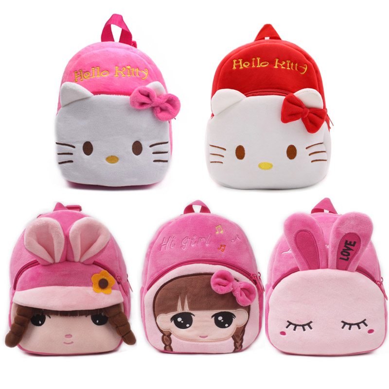 1 Piece Girl Plush Backpack Pink Kitty School Bags Cartoon Rabbit Plush Toy Bags For Kids