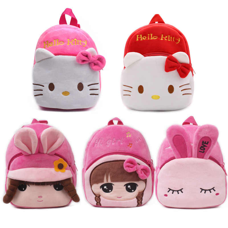 1 piece Girl Plush backpack pink Kitty school bags Cartoon Rabbit plush toy  bags for kids 6c89dbd6dbcc6