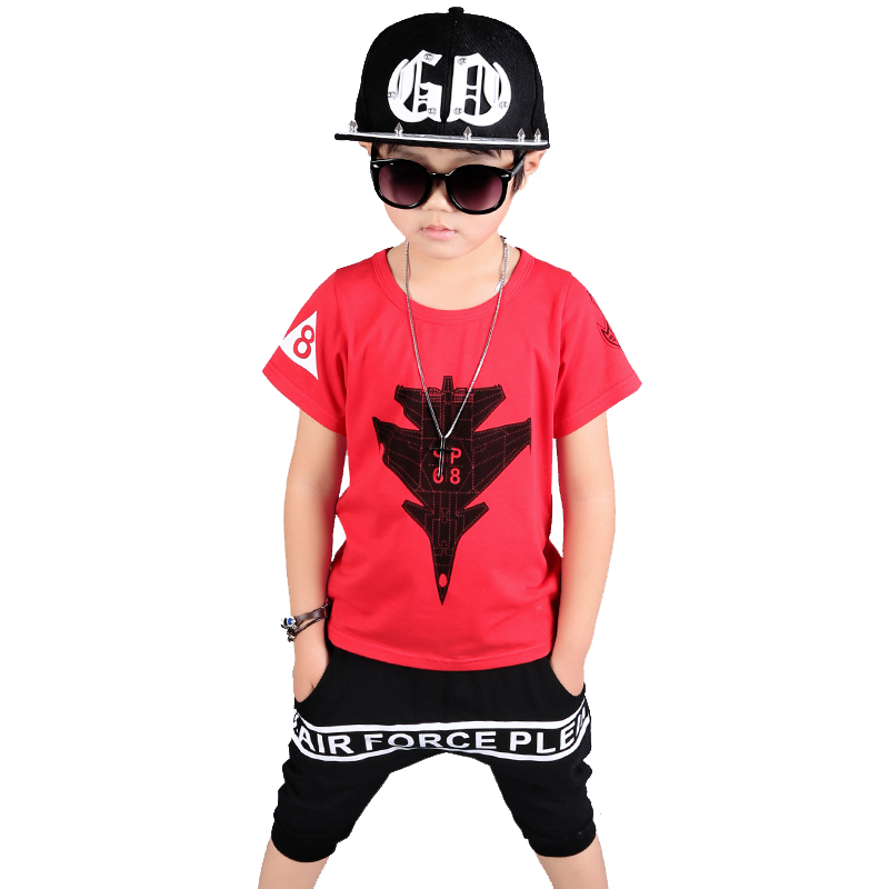 2017 Fashion Summer suits for boys Boy set kids hip hop clothing Boys set Cotton t-shirt+shorts 2pcs for 3 5 6 8 10 12 years