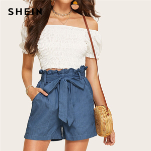 Image 5 - SHEIN Casual Blue Paperbag Waist Twin Pocket Patched Belted Denim Shorts Women Summer 2019 High Waist Wide Leg Solid Shorts